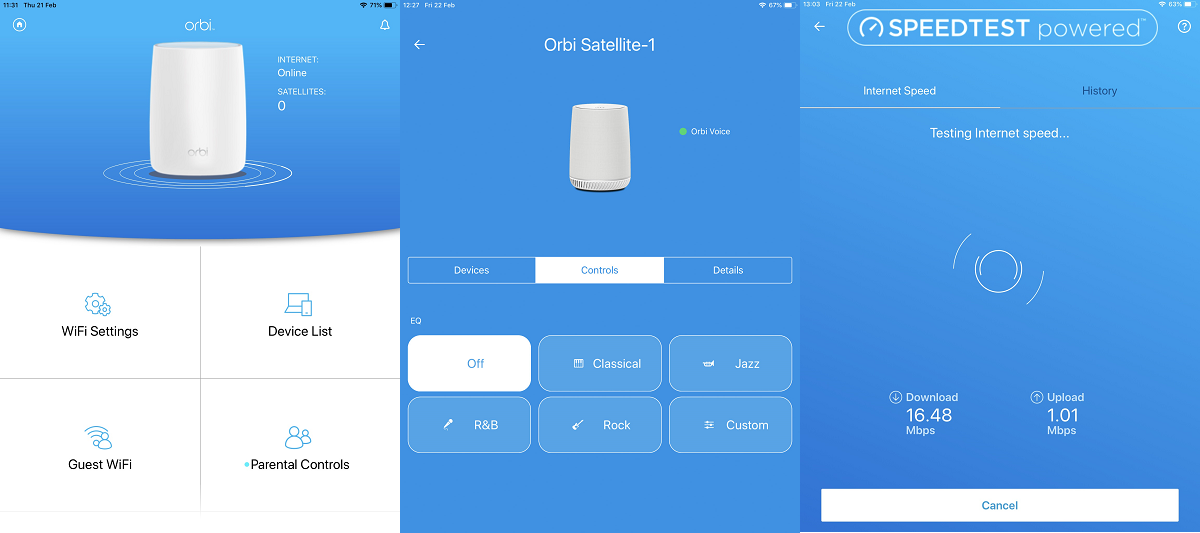 Advanced features of Orbi application