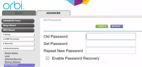 Steps to reset orbi router admin password